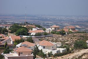 Alfei Menashe - View from high point of Alfei Menashe, showing the nearness of the separation barrier (right) as of 2006