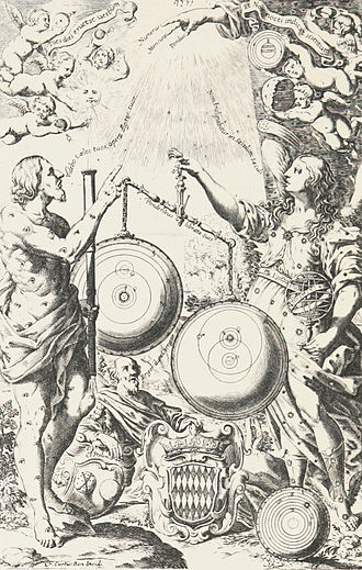 "Giovanni Battista Riccioli - Frontispiece of Riccioli's 1651 New Almagest. Mythological figures observe the heavens with a telescope and weigh the heliocentric theory of Copernicus in a balance against his modified version of Tycho Brahe's geo-heliocentric system, in which the Sun, Moon, Jupiter and Saturn orbit the Earth while Mercury, Venus, and Mars orbit the Sun. The old Ptolemaic geocentric theory lies discarded on the ground, made obsolete by the telescope's discoveries. These are illustrated at top and include phases of Venus and Mercury and a surface feature on Mars (left), moons of Jupiter, rings of Saturn, and features on the moon (right). The balance tips in favor of Riccioli's ""Tychonic"" system."