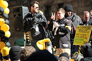 Super Bowl XLV - An American Sign Language interpreter in the Joe Greene jersey appearing at a rally for the Pittsburgh Steelers prior to Super Bowl XLV.