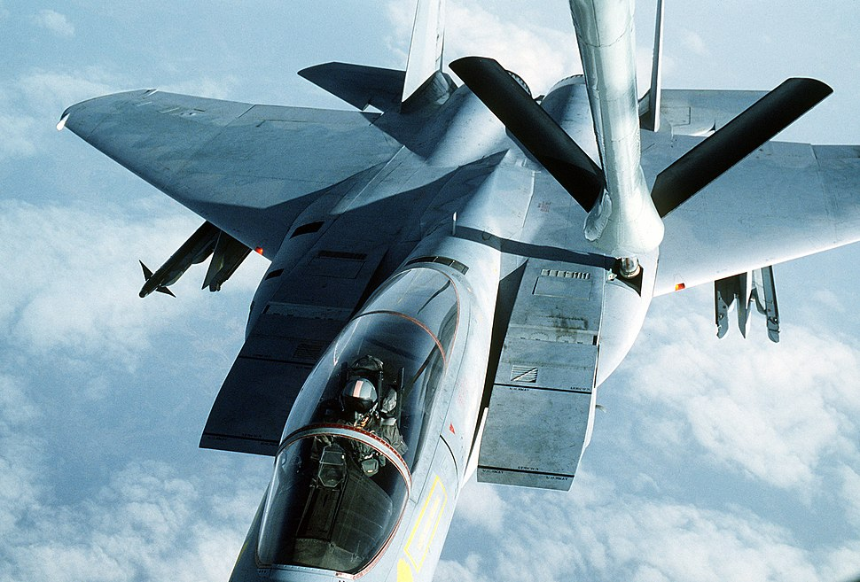 An air-to-air view from the boom operator's window of a 12th Tactical Fighter Squadron F-15 Eagle aircraft refueling during the joint U.S.-South Korean Exercise Team Spirit '84 DF-ST-84-11575