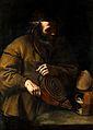 An alchemist applying bellows to a fire beneath a retort. Oi Wellcome V0017686.jpg