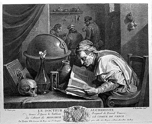 An alchemist poring over a book, on his table stand an hour- Wellcome L0004326