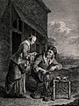 An old man is stitching a boot as a young woman leans over Wellcome V0039528.jpg