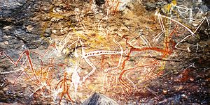 Anbangbang Billabong - Aboriginal rock painting of Mimi spirits in the Anbangbang gallery at Nourlangie Rock.