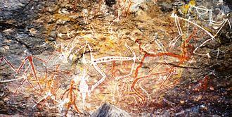 Anbangbang Billabong - Aboriginal rock painting of Mimi spirits in the Anbangbang gallery at Nourlangie Rock.