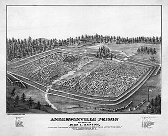 American Civil War prison camps - Bird's eye view of the Andersonville POW camp.