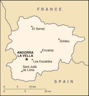 United Nations Security Council Resolution 848 - Location of Andorra