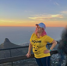Picture of Andrea Steyn taken on Table Mountain at sunset, Cape Town.