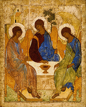 St. Andrei Rublev's famous 14th-Century icon of the Blessed Trinity.
