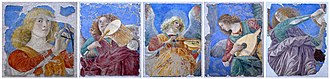 Melozzo da Forlì - Selection of musician angels from fresco paintings of the Basilica dei Santi Apostoli, by Melozzo da Forli (Pinacoteca of the Vatican Museums)