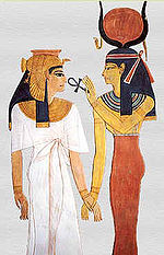 work of visual art: drawing of Nefertari with Isis