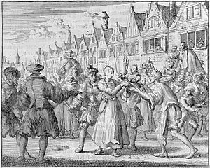 Anneke Esaiasdochter - Anna Jansz on the way to her execution, supposedly giving away her child, etching by Jan Luiken from the Martyrs Mirror, 1685