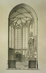 Drawing of a side chapel in a church