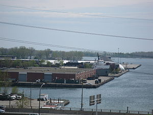 Another lake freighter peaking out of the Polson Street slip, 2012-05-13 -a.jpg
