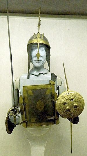 Mirror armour - Classic Indian char-aina, also chahar-aina or chahar-ai-ne (the four mirrors), Persian (چهاﺮآﻳنه ), shown with kulah khud helmet and madu shield, Mumtaz Mahal Museum, Red Fort, Delhi India.