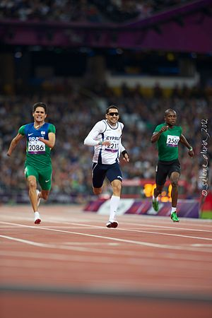 Antonis Aresti -  Antonis Aresti crossing the finish line of the 400m T46 qualifying race for the London 2012 Paralympics