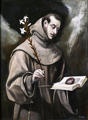 Painted portrait of Saint ANTHONY of Padua