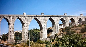 Águas Livres Aqueduct - Aqueduct arches (65 m tall) over the Alcantara valley. Note the pointed shape of the arches.