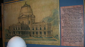 Utah Territorial Statehouse - An architectural drawing by Truman O. Angell of the original design for the Utah Territorial Statehouse.