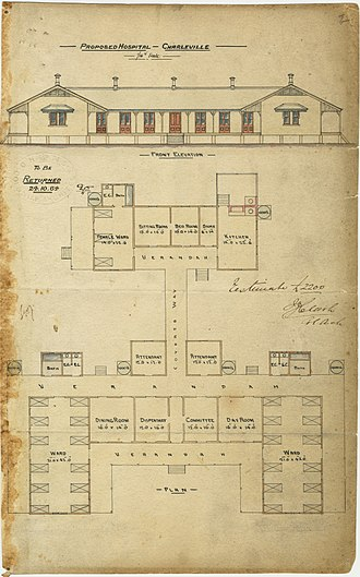 Charleville, Queensland - Architectural drawing of the Charleville Hospital, 1884