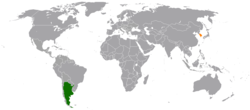 Map indicating locations of Argentina and South Korea