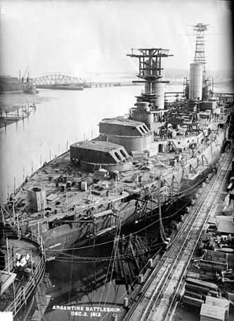 The Argentine Rivadavia, first of its class, under construction Argentine Rivadavia Class Battleship 1912.jpg