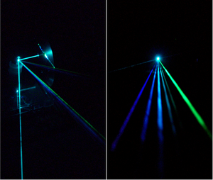 Ion laser - An argon-laser beam consisting of multiple colors (wavelengths) strikes a silicon diffraction mirror grating and is separated into several beams, one for each wavelength (left to right): 458 nm, 476 nm, 488 nm, 497 nm, 502 nm, 515 nm