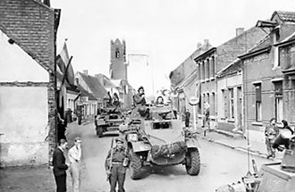 4th Canadian Division - Image: Armoured cars in the Belgian Dutch border town of Putte