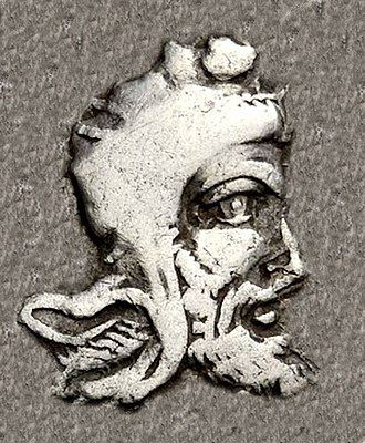 Artumpara - Portrait of Artumpara wearing the Achaemenid satrapal headdress, from his coinage.