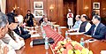 Arun Jaitley, the Minister of State for Finance, Shri Jayant Sinha along with the senior officials presented the General Budget to the President, Shri Pranab Mukherjee, at Rashtrapati Bhavan, in New Delhi.jpg