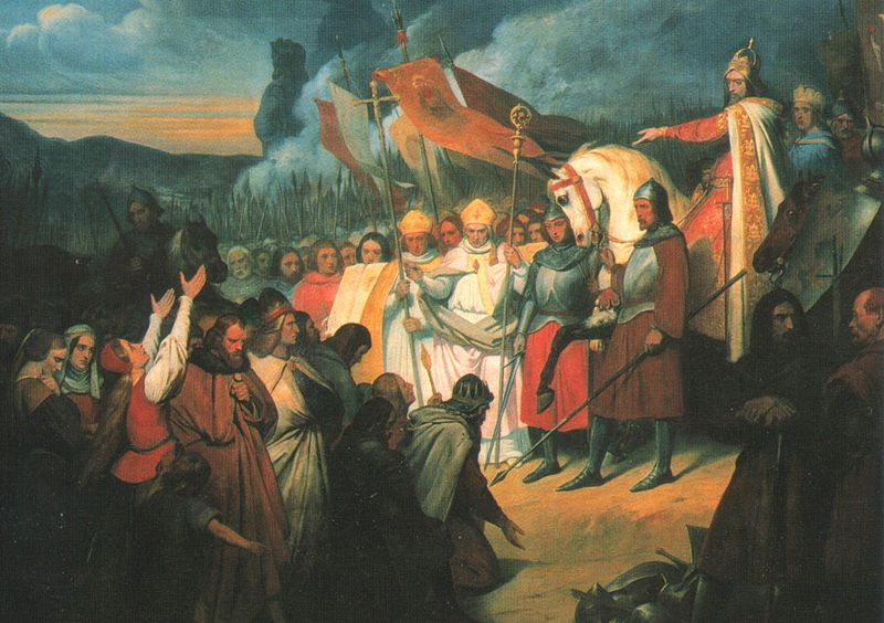 Ary Scheffer, Charlemagne re%C3%A7oit la soumission de Widukind %C3%A0 Paderborn, (1840).jpg
