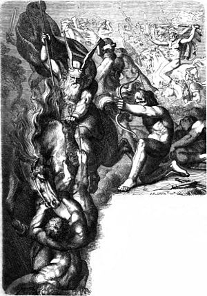 "Æsir–Vanir War - ""The Æsir Against the Vanir"" (1882) by Karl Ehrenberg."