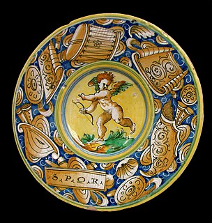 Italian tin-glazed pottery dating from the Renaissance period and  in the broad sense also other types of coloured glazed pottery