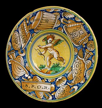 Maiolica - Istoriato decoration on a plate from Castel Durante, c. 1550–1570 (Musée des Beaux-Arts de Lille)