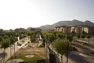 Atarfe - View of the city showing its Pink Floyd park and surrounding mountains.