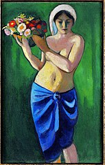 Woman supporting a flower bowl