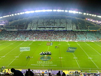 Sydney Roosters - The Sydney Football Stadium as it appears while hosting a National Rugby League finals match.