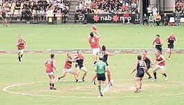 De Adelaine Crows vs de Melbourne Demons in een wedstrijd Australian football te Gold Coast, Queensland in 2006