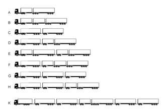 B-train - Road train combinations. A shows a B-Train or B-double. B shows a B-triple.