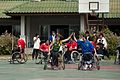 Australian paralympian Liesl Tesch conducted wheelchair basketball clinics in Vientiane to help raise awareness of disability and bring attention to UXO victim assistance in laos. Laos 2010. Photo- AusAID (10674802805).jpg