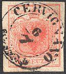 Austria 1850 3Kr Ib laid paper CERVIGNANO.jpg