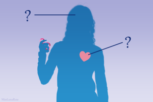 A silhouette drawing of a young autistic woman holding a fidget toy. Her heart and head are marked with question marks.
