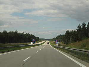 A18 autostrada (Poland) - End of A18 direction west