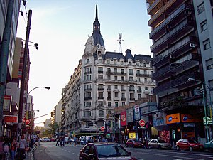 Balvanera - French Academy architecture lost among its modern surroundings, Corrientes and Pueyrredón Avenues.