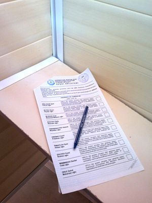 Azerbaijani presidential election, 2013 - Bulletin for election in the voting cabin