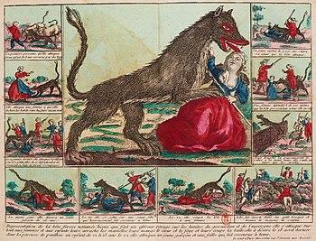 The Gévaudan beast ambushes a woman
