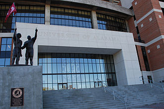 Bryant–Denny Stadium - The north end zone entrance in 2007, with commemorative Alabama players statuary group on the left.