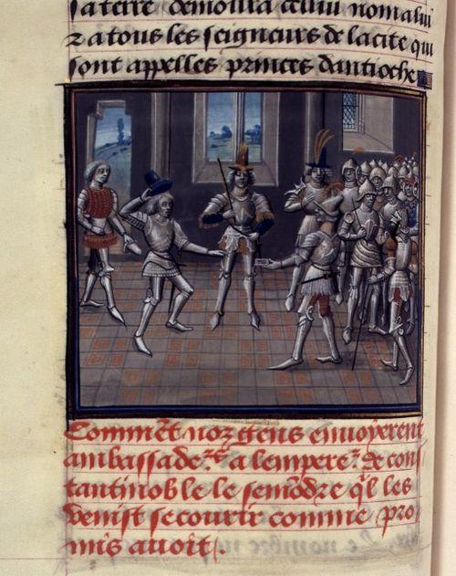 Hugo tegenover Alexius, die zijn eed van vazalschap onder druk aflegt. Illustratie uit Willem van Tyrus (historia..).