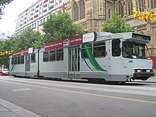 A B2 class tram on route 8 in Swanston Street.