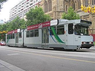 Yarra Trams - B2 2104 on Swanston Street in an early TransdevTSL livery